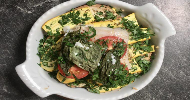 Gegrillte Aubergine und Zucchini mit Kabeljau
