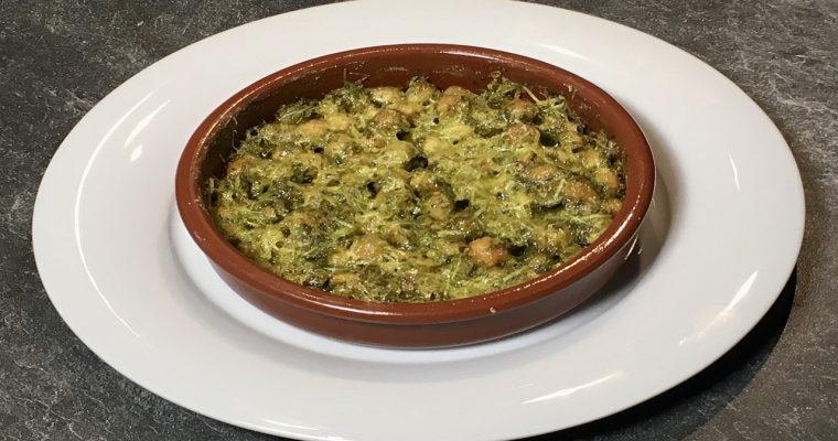 Überbackene Kichererbsen mit Bärlauch Pesto und Parmesan