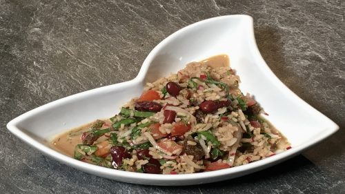 Salat aus Kidney Bohnen und Reis
